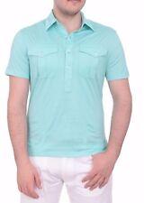 $275 Ralph Lauren Black Label Slim Cotton Jersey Blue Polo Shirt Small Italy
