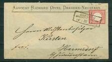 Deutsches Reich 19  , Brief ,  als PF Aufbrauch mit Dresden R3 vom  14/1/75