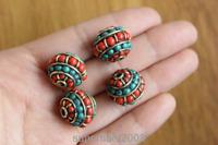 BD100 Nepal Handmade Brass Mini Coral Turquoise Beads Tibetan Loose Beads 4 PCS