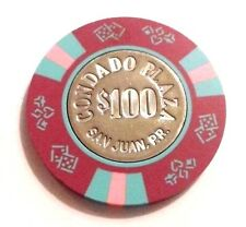$100 CONDADO PLAZA Purple Blue Pink Casino Chip SAN JUAN Puerto Rico Bud Jones