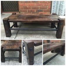 Antique Man made Thick Dark Wood Coffee Table-1 In Town