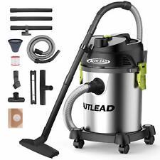 Wet Dry Vacuum,Autlead Stainless Bucket 5.5 Peak Hp 5.5 Gallon Wet/Dry/Blow 3 in