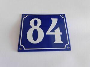 Old French Blue Enamel Porcelain Metal House Door Number Street Sign / Plate 84