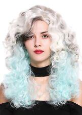 Women's Wig Long Volume Side Part Curls Drag Queen Braun Blonde Blue