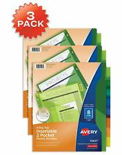 Avery 8 Tab Plastic Binder Dividers With Pockets Insertable Multicolor 3 Sets