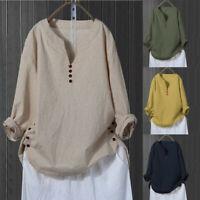 Women Long Sleeve Cotton Linen Kaftan Ladies Baggy Blouse Tee Shirt Tops Button