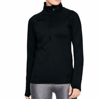Under Armour ColdGear Black Tonal Womens Half Zip Graphic Fitted Long Sleeve Top