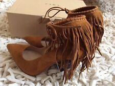 Zara Women fringed Leather High Heel Shoes Size Uk 3 EUR 36 BNWT! Reduced