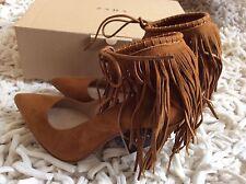 Zara Women fringed Leather High Heel Shoes Size Uk 6 EUR 39 BNWT!