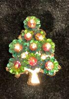Vintage Beautiful Aurora Borealis Christmas Tree Pin Brooch Gold Tone Unmarked