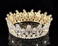STUNNING FULL CROWN AUSTRIAN CRYSTAL RHINESTONE TIARA PAGEANT BRIDAL T1927G GOLD