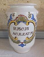 Vaso Farmacia Nevers Ceramica Ruscus Aculeatus Farmacista Fragon Agrifoglio