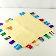 Tag Little Hello Kitty 11 x 11 Security Blanket Lovey Yellow With Bear Patch