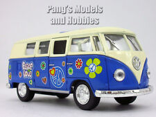 """VW T1 (Type 2) """"Peace and Love"""" Bus 1/32 Scale Diecast & Plastic Model - Blue"""