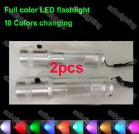 2x Multifunction 10 Color Shine Flashlight Novelty Lighting 3W Torch Night Lamp
