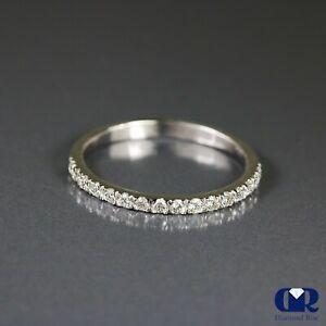 Natural 0.25 Ct Round Cut Diamond Wedding Band Ring 14K White Gold