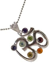 Butw Silver Ohm 7 Chakra Gemstone Accents Pendant Necklace Om Ball Chain 0350K