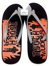 NEW TOUGH MUDDER CHALLENGE Sandals Black Flip Flops Sz M Summer Beach Wear