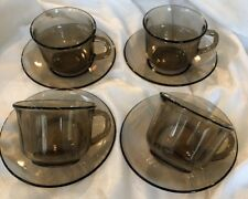 Set of 4 Vintage ARCOROC (France) 'Fume' Smokey brown Glass Cups with Saucers