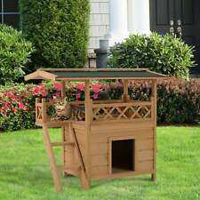 Pawhut Indoor and Outdoor Wood Dog House Shelter with Roof Brown Small