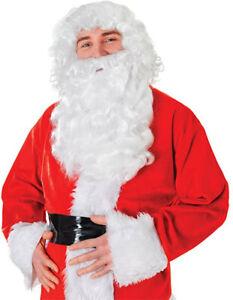 SANTA CLAUS WHITE WIG + BEARD SET FANCY DRESS COSTUME WIZARD CHRISTMAS BW804