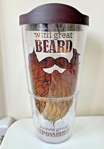 Tervis Tumbler Great Beard Great Responsibility Insulated Travel Mug & Lid 24 oz