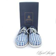 NIB #1 MENSWEAR Brooks Brothers Blue Madras Deck Moccasin Boat Shoes 11.5 NR #17