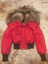 Dsquared down jacket red sz.38 with hood, fur