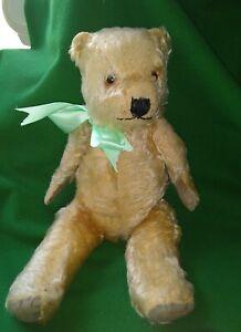 "Golden blonde Chiltern ""Hugmee"" English Teddy Bear.  Late 1920s -1930s 14"" tall"