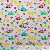BonEful Fabric FQ Cotton Quilt White Pink Yellow Easter Bunny Rabbit Chick Egg S