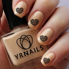Nail WRAPS Nail Art Water Transfers Decals - Lace Heart - S180
