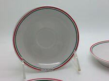 I. Godinger & Co Set of 4 (FOUR) Espresso Saucer Red Green Stripe