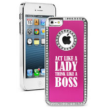 For iPhone 4s 5 5s 5c 6 6s Plus Rhinestone Bling Case Cover Act Like A Lady Boss
