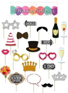 20 Wedding Day Photo Booth Selfie Props Mr Mrs Glasses Cake Crown Tash I Do etc