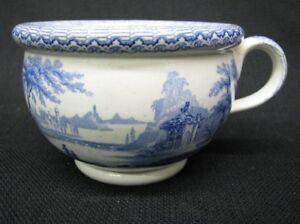 Rare 19th Century Child's / Toy Staffordshire Blue Transferware Chamberpot; 1840