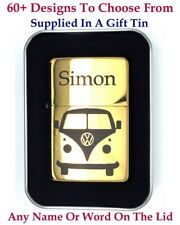 Personalised Engraved lighter, Gold Colour + Gift Tin.72 Design choices.UK Stock