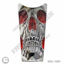 Gel Top Gas Tank Dash Console Insert 87-07 Harley Touring SKULL RED FLAME I