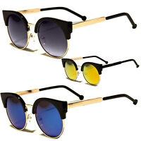 Womens Retro Vintage Style Black Metal Half Frame Cat Eye Sunglasses Revo Shades