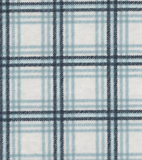 NEW UNCUT FLANNEL FABRIC 3 YARDS X 42 INCHES WIDE LIGHT DARK BLUE PLAID ON WHITE