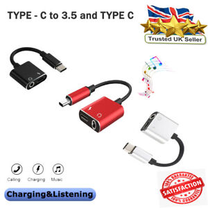 TYPE C TO 3.5mm AUDIO AUX HEADPHONE 2 in 1 DUAL ADAPTER CHARGER For SAMSUNG etc.