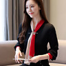 Spring Women Silk Shirt Women Tie Neck Long Sleeve Formal Business OL Blouse Top