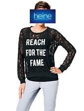HEINE Damen Spitzenshirt Top schwarz 38