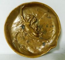 DUNHILL Art Nouveau Bronze NUDE BEAUTY in WAVES Pipe Tray Ashtray - Signed