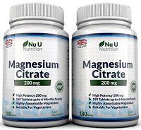 Magnesium Citrate 2 Bottles 200mg 180 tablets UK Made Money back Guarantee Nu U