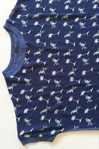 Womens Bird Print Blue Short  Sleeve Blouse Top Polyester