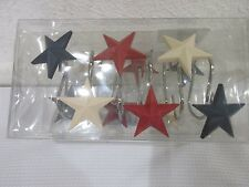 Patriotic 4th of July Red White & Blue Star Americana Shower Curtain Hooks 12pk