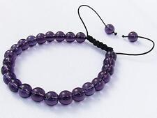 Natural Amethyst Gemstone Men's beaded bracelet February Birthstone 8mm beads