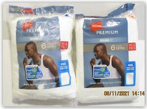Hanes Premium Original Fit Ribbed TANKS WHITE LARGE Fresh IQ ring spun cotton
