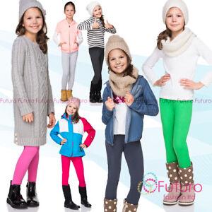 Girls Full Length Cotton Thick Leggings Children Standard Plain Trousers FF1CH