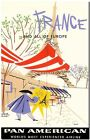 """Cool Retro Travel Poster *FRAMED* CANVAS ART France Pan American 24x16"""""""